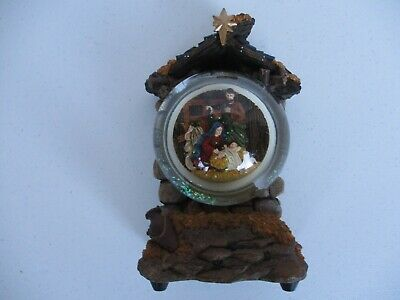 Nativity scene musical wind up snow globe