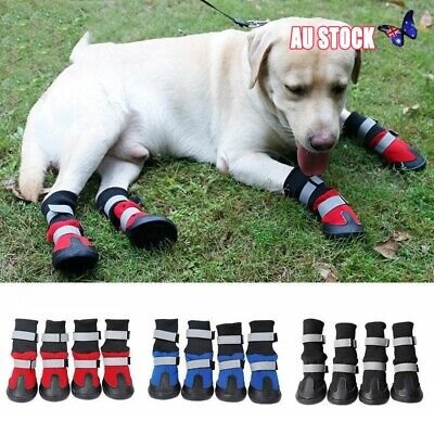 4x Waterproof Pet Dog Puppy Boots Winter Warm Rain Booties Protective Shoes AU