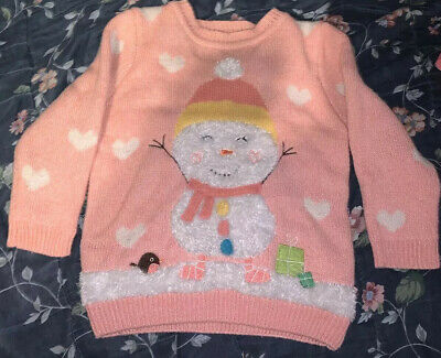 Asda George Girls Toddlers Christmas Pink White Snowman Jumper Age 2-3 Years