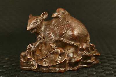 Fortune chinese bronze mouse statue figure table decoration gift collectable
