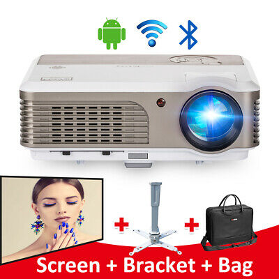 Smart HD Android Bluetooth LED Projector 4000LM Home Theater Miracast HDMI USB