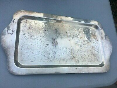 Vintage Mid-Century B. Rogers Silver Co. Trademark Plate Dish Tray Inlay Scrolls