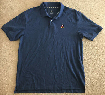 Mickey Mouse Disney Parks Polo Shirt Large L Men's Blue Embroidered Cotton EUC