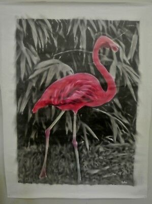 "Huge ""Pink Flamingo (1 of 2) oil painting on canvas by J. BLAH…36"" x 48"""