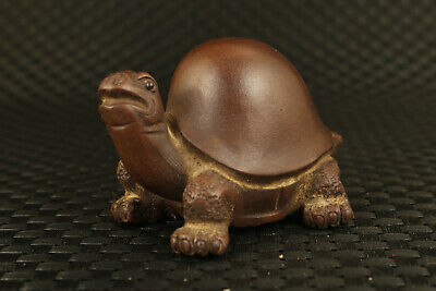 Antique chinese purple sands handmade turtle statue collectable decoration gift