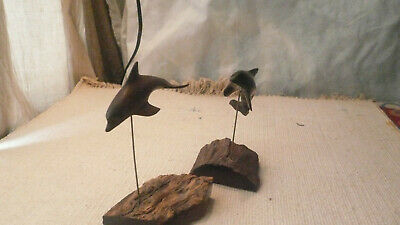 2 Ironwood Sculpture Hand Carved Dolphin Porpoise Mid Century