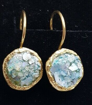 Roman Glass Fragments Earrings Ancient 200 BC Patina Dangle Gold P.Holy Land