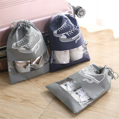 1/5X Portable Shoes Bag Travel Storage Pouch Drawstring Dust Bags Non-woven Bag
