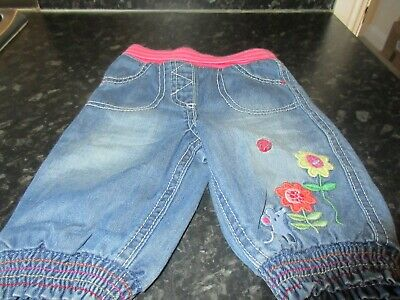 Lovely Marks & Spencer Babies floral 100% Cotton Jeans age 0-3 months