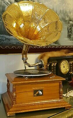 Collectable Working Wind Up Hmv Record Wooden Gramophone And Decorative Horn