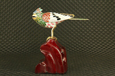 unique chinese old royal cloisonne hand carved bird stand wood statue figure