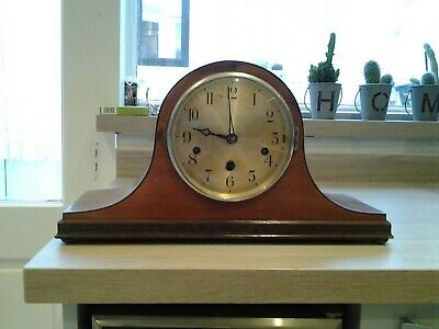 OLD WOODEN CHIMING MANTLE CLOCK working and chiming lovely wooden case no key