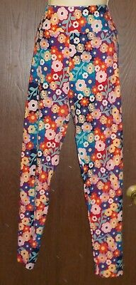 LuLaRoe Leggings Tall & Curvy Purple Red Orange Pink Floral Polyester Spandex