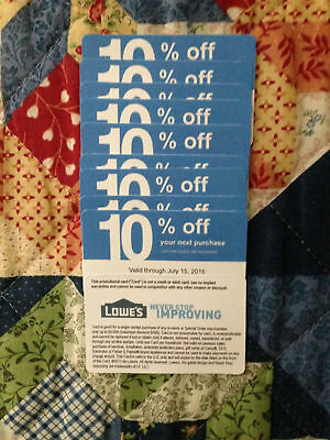 Twenty (20x) Lowes 10% Coupons for Home Depot only Exp NOVEMBER 15, 2020