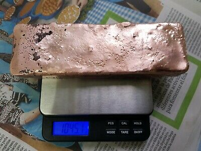 Lingote de cobre 1.045 gr, ingot, copper, bar, buillon