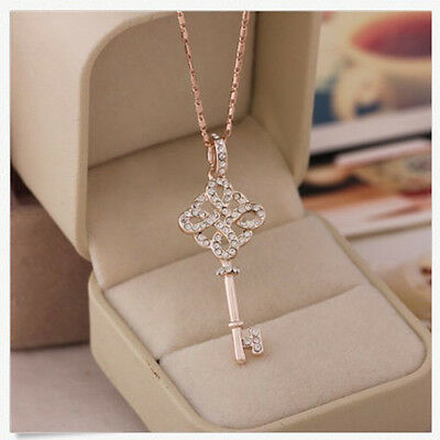 Women 9K Rose Gold Filled Key Style Necklace & Pendant Fashion Chic 2Y