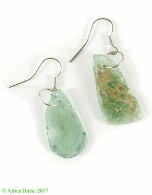 Ancient Roman Glass Earrings Beads Green Bowl Fragments Afghanistan SALE WAS $22