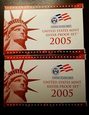 Two complete - 2005-S US Silver Proof Coin Proof Sets in OGP