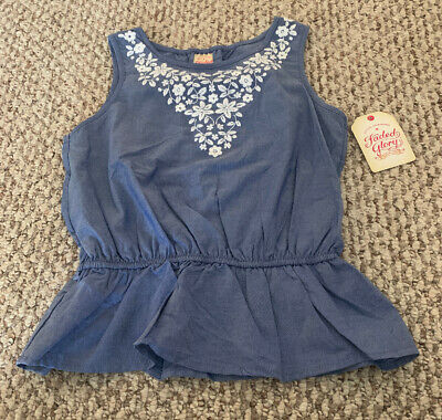 New Faded Glory Girls Top Shirt Size 6/6X NWT Blue Chambray