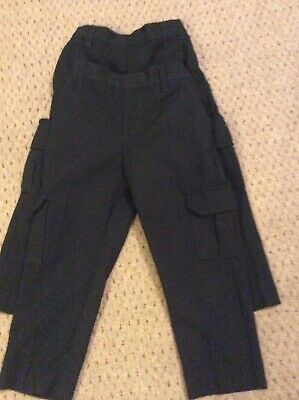 2 Pairs Boys Charcoal Grey School Trousers Cargo Style Aged 4 Years