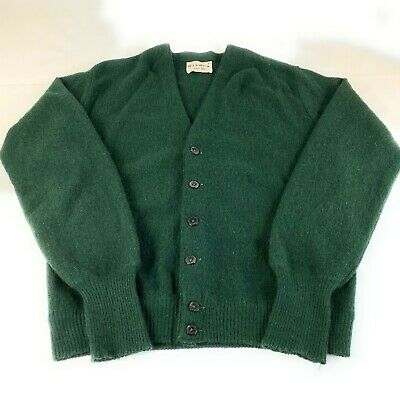 VTG Lord Jeff Womens Green 100% Imported Alpaca Cardigan Sweater Made USA Sz M