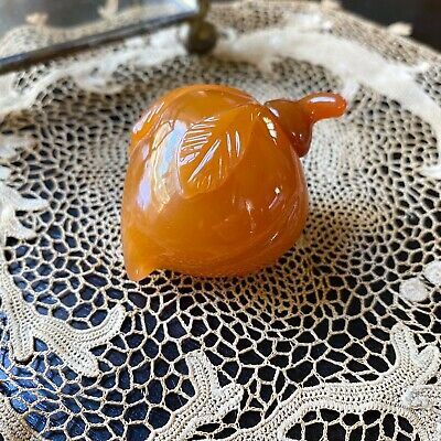 Antique Chinese Snuff Bottle Peach Carved Fruit Figure Glass with Lid Asian Art