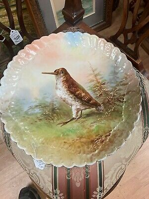 "Beautiful Antique French Limoges Hand Painted Bird Plate 13  1/2"" Bird Wildlife"