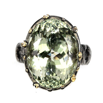 Handmade Oval Green Amethyst 19x14mm 2-Tone 925 Sterling Silver Ring Size 8