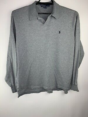 Mens Polo by Ralph Lauren Gray Long Sleeve Polo Shirt Size L Navy Pony