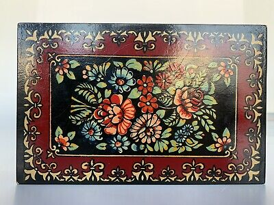 Painted Lacquered Russian Red Black Wood Box Jewelry Trinket Floral Folk Art VTG