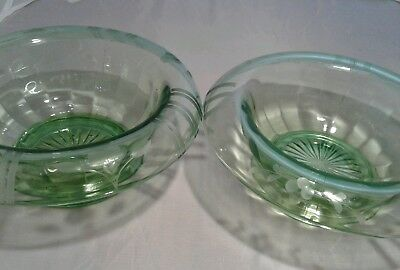 Vintage etched green depression glass rolled edge candy dish bowl pair lot set 2