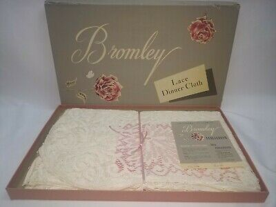 Rare Vintage Bromley Quaker Lace Dinner Cloth Tablecover Picot Loop Ivory 70x90