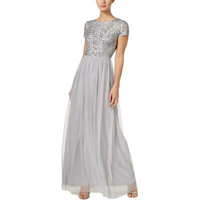 Adrianna Papell Womens Gray Tulle Special Occasion Dress Gown 16 BHFO 7209