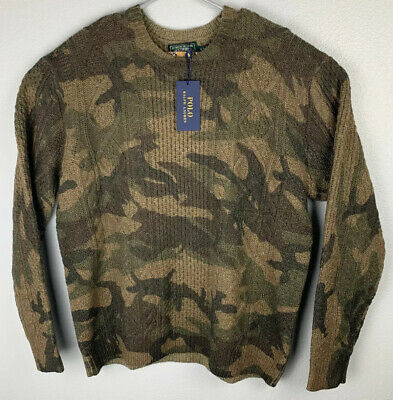 Polo Country Ralph Lauren Camouflage Cable Knit Wool Sweater Mens XL NWT $298