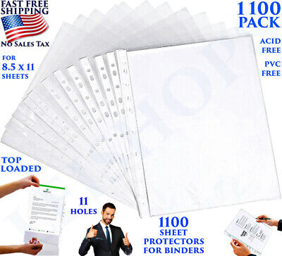 1100 Sheet Page Protectors Office Document Paper Sleeves For Binders 8.5 X 11