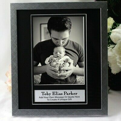 Baby Personalised Photo Frame 6x8 Black/Silver - Unique Baby Gift
