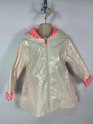 Girls Billieblush White Winter Light Weight Zip Rain Coat Hood Kids Age 5 Years