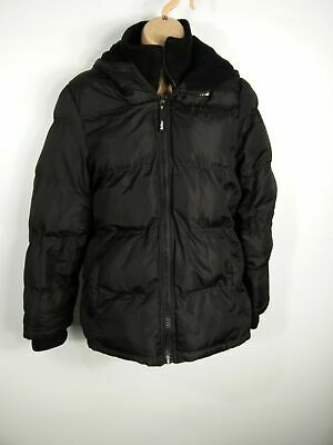 Girls Lee Cooper Black Padded Jacket Coat Zip Pockets Hood Fleece Lining Age 13