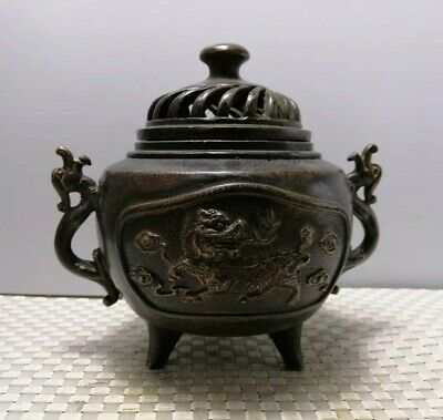 Marked China Dynasty Palace Bronze dragon statue Two Ears censer Incense Burners