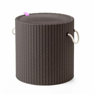 Keter Cool Stool with Rope Handles Taupe Outdoor Drink Cooler Storage Table~