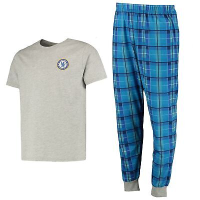Chelsea Football Check Pyjama Set Grey Marl Mens