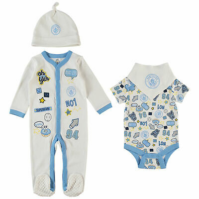 Manchester City Football Baby Badges Bodysuit Sleepsuit Layette Sky Baby