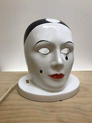 Vintage Ceramic Face Pierrot Clown Mask Accent Table Lamp Made In Italy
