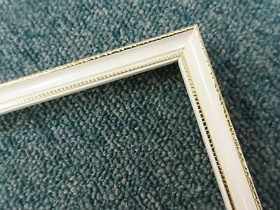 4 x 75cm lengths (3m) - Small 10mm Wooden White & Gold Picture Frame Moulding