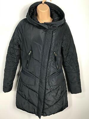 Womens Next Petite Navy Blue Zip Up Padded Quilted Winter Coat Jacket Size Uk 6