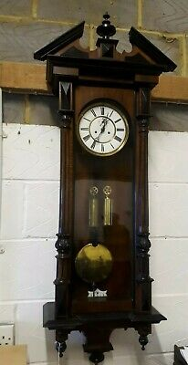 Walnut Antique Double Weight Vienna Wall Clock