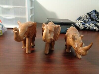 Lot Of 3 Vintage Hand Carved Wooden  Animals African Kenya Rhino,Elephants