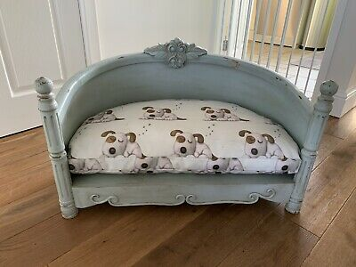 Antique Looking French Style Luxury Dog Bed Wooden - Duck Egg Blue