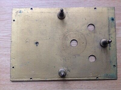 Antique Clock Brass Face Dial Back False Plate 140x190mm Pegs 28mm Spare Part
