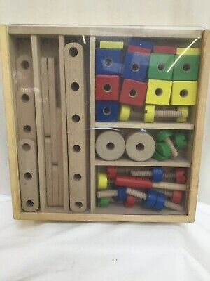 Melissa and Doug Kids Children's Construction Building Wooden Toy Play Set